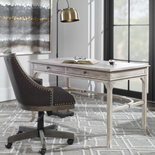 comfy swivel chair and grey toned desk for the home office