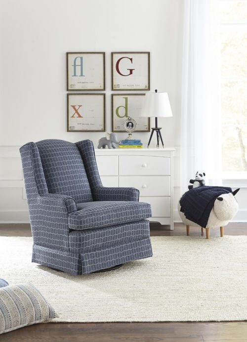 Nursery chairs featuring a blue plaid swivel recliner by Best Home Furnishings