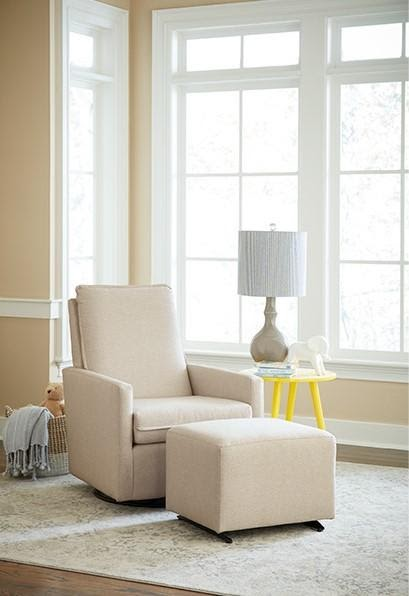 Nursery chairs featuring a cream colored recliner with ottoman for the baby's room by Best Home Furnishings