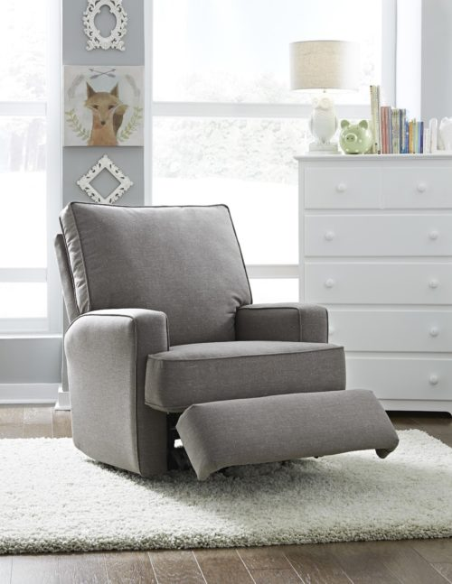 Gray colored recliner used for nursery chairs by Best Home Furnishings