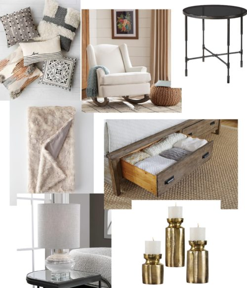 home accessories featuring, lamps, throw pillows, side tales and rugs.