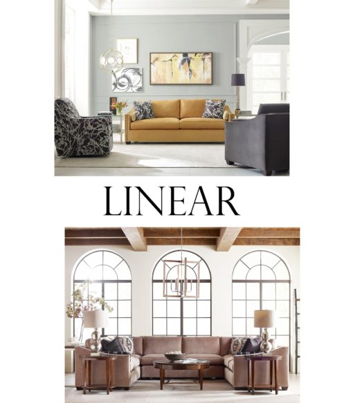 Linear sofas and sectionals displayed in a living room by Kincaid