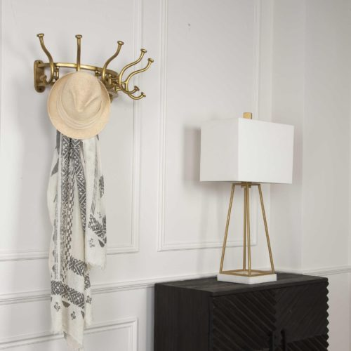 room essentials with a coat hanger, side table and lamp from Uttermost